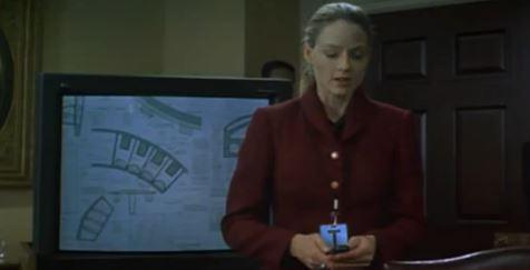 Jodi Foster als Elli Arroway erklärt, dass die Trägerwelle in Wirklichkeit eine Bauanleitung ist