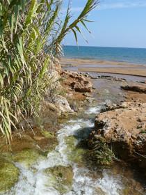 Kleiner Wasserfall fließt ins Meer Kalabriens, Provinz Crotone      (Foto: privat)