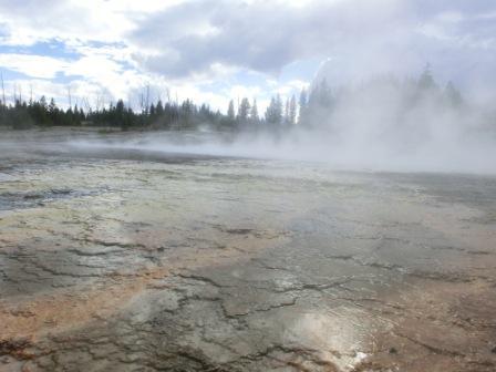 Dampfende heiße Quellen im Yellowstone NP