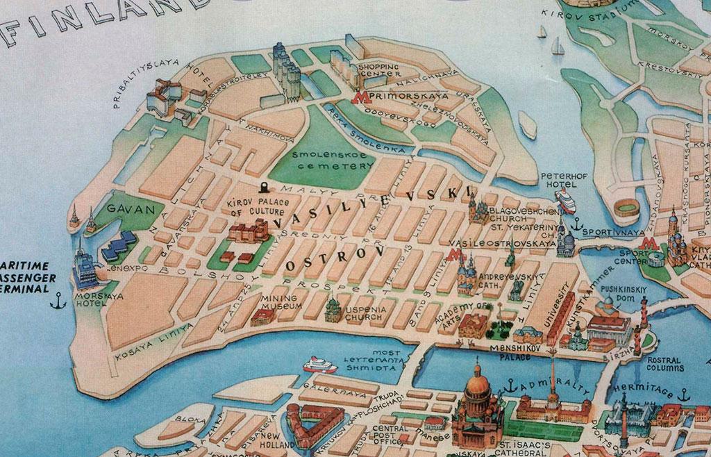 Карта Васильевского острова. Линии, проспекты, прямые углы, соразмерность, кратность, ну и так далее