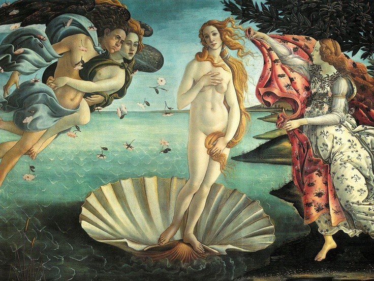 "Sandro Boticelli's ""The Birth of Venus"", 1486, Galleria degli Uffizi, Florence."