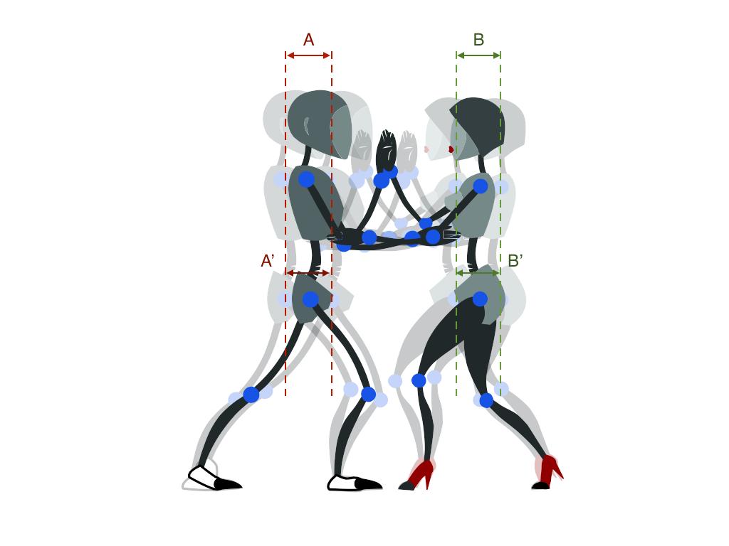 Рис. 1. А' — смещение центра тяжести партнера (для партнерши В'). Просто А — смещение корпуса. При этом А примерно равно A' и равно В.