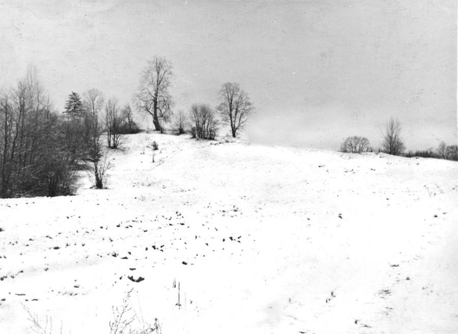 Вид на место церкви с севера, со стороны деревни Шушково. Фото Л.Т.Перепеча 1960-е г.