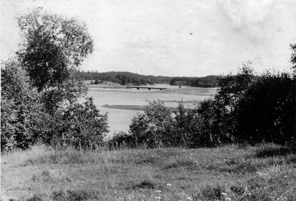 """Вид с """"Седьмого километра"""" на бывший железнодорожный мост через Великую. Фото 1960-х гг. Л.Т.Перепеча"""