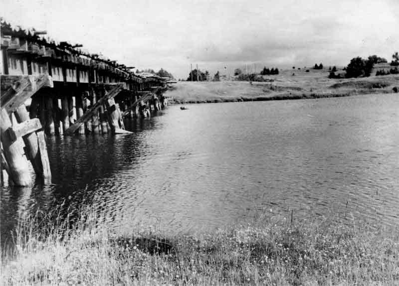 Железнодорожный мост. Вид в сторону Курилово. Фото 1963г.