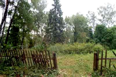 Общий вид кладбища. Мелкий кустарник указывает на место, где до конца XIX находилась церковь.