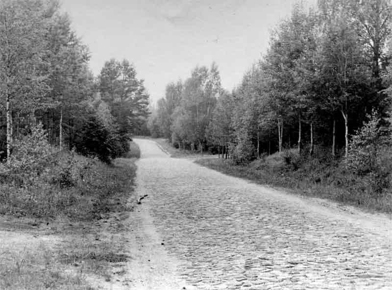 Старая мощёнка. Дорога из Идрицы в Максютино. Впереди виден поворот по насыпи на Максютино. Фото 1964г.