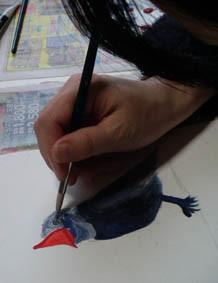 アクリル絵具の技法のの授業風景の画像