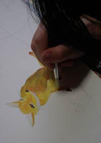 アクリル絵具の技法のの授業風景