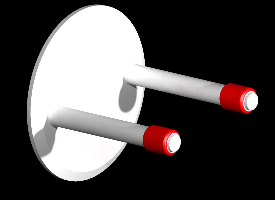 weiße Stangen - rote Auflagen (W - R)