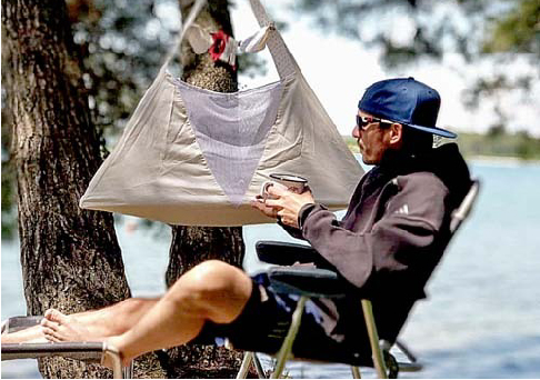 Camping mit Federwiege, unterwegs mit Baby