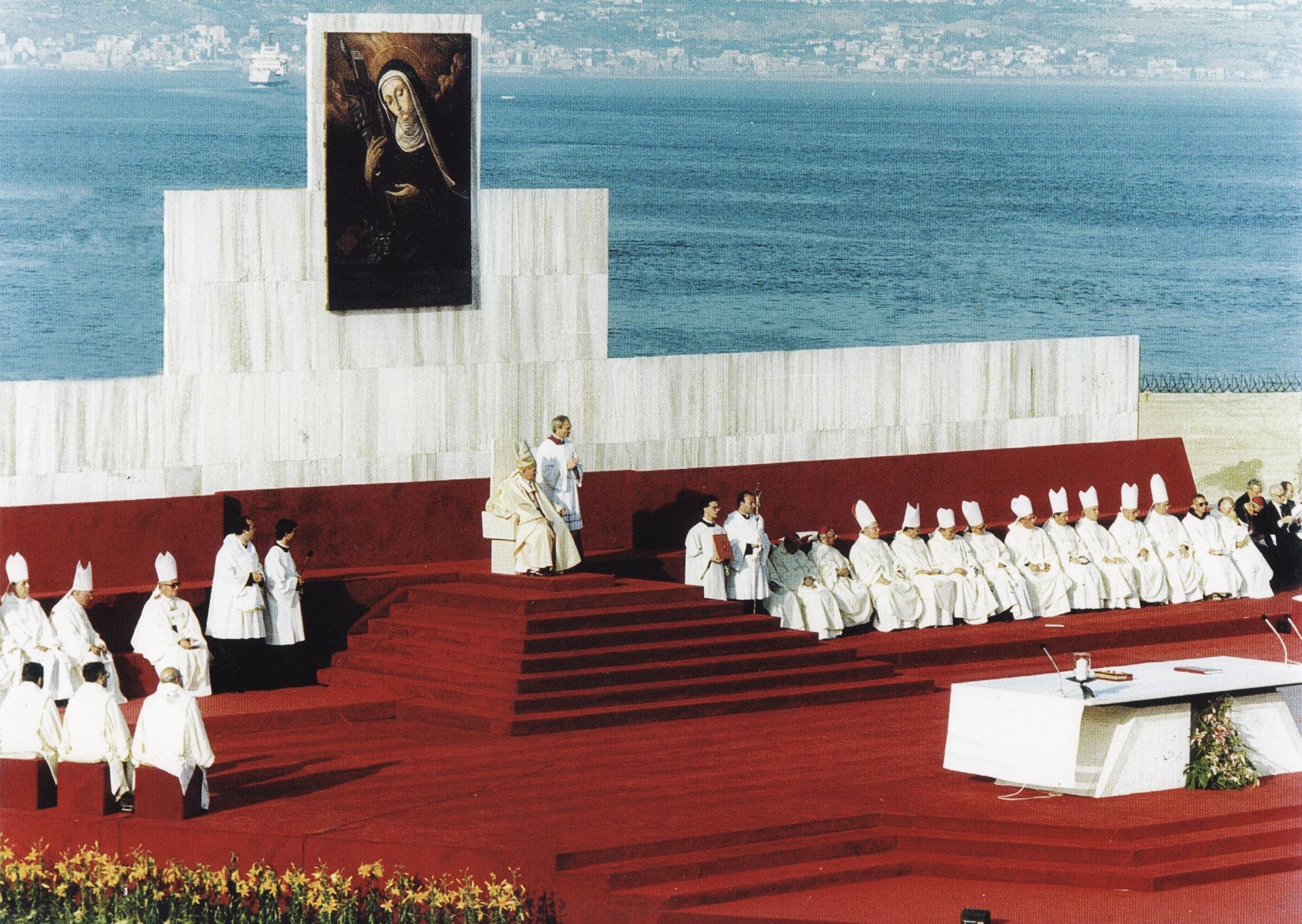 Messa canonizzazione papa Giovanni Paolo II Messina 11 giugno 1988 Eustochia Calafato Smeralda Fiera montevergine clarisse