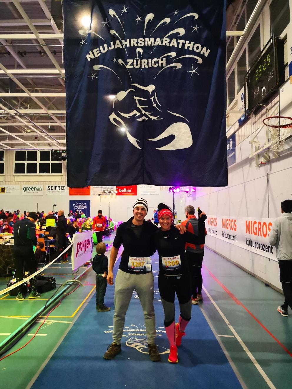 Martin und ich am Neujahrshalbmarathon in Zürich 01.01.2020