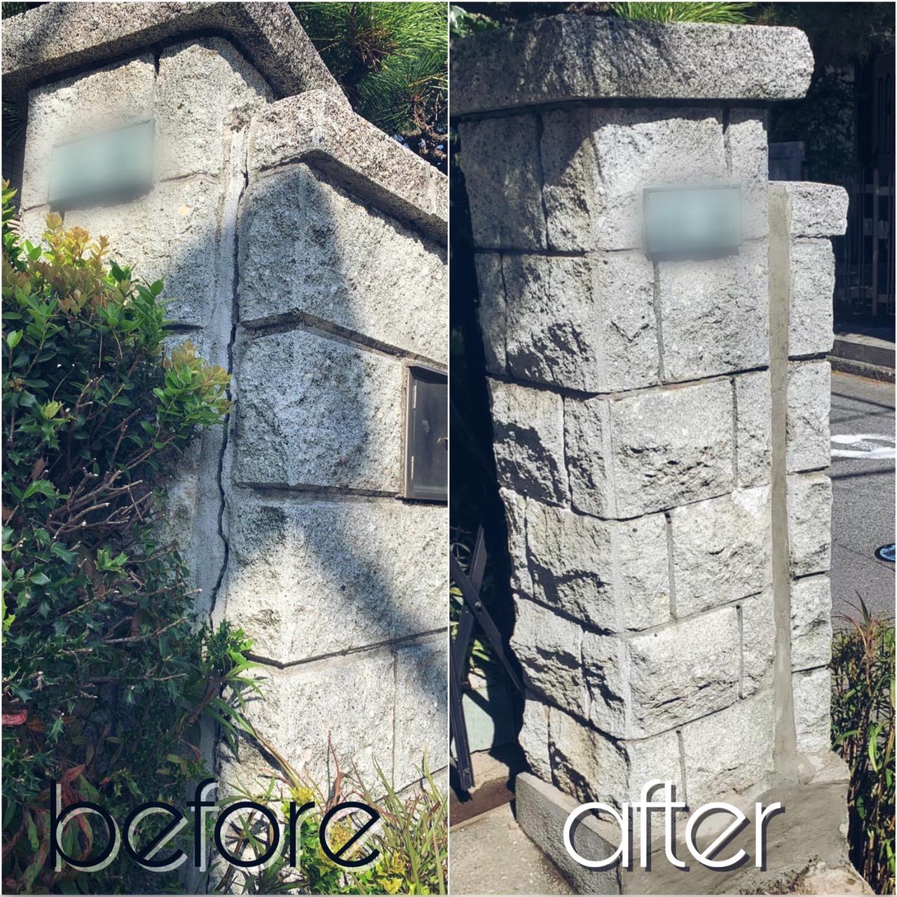 ブロック塀の補修と木の伐採