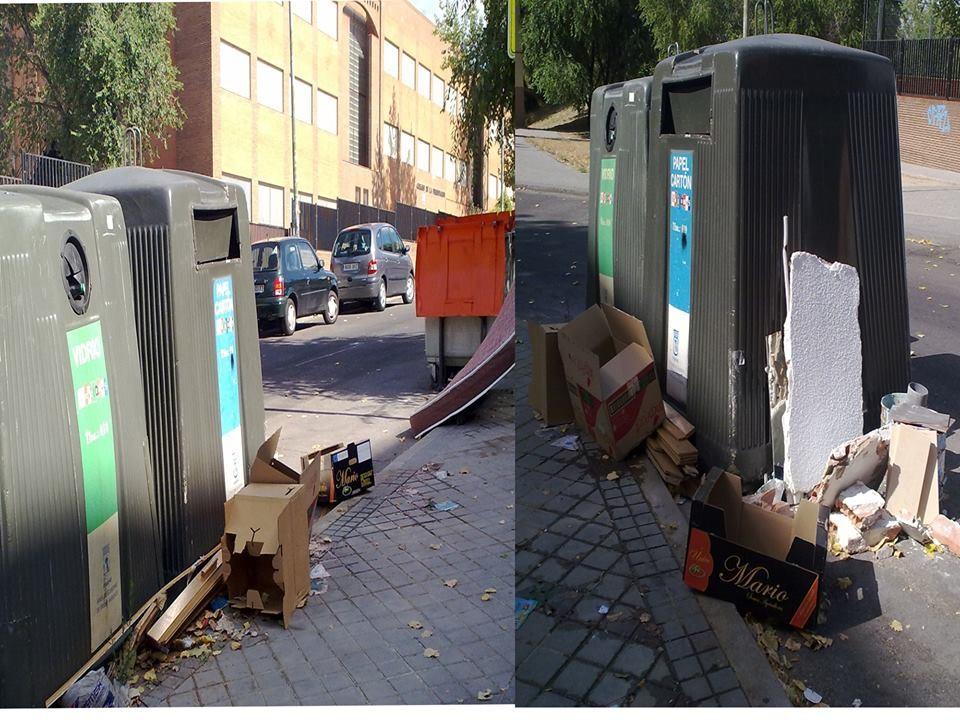 """Teresa López envía esta imagen de la calle Lardero y cuenta que """"una vez más, hasta escombros, y colchones junto a los contenedores, es desolador ver esto""""."""