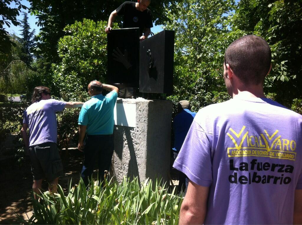 Resatauración del monumento en el parque de la Vicalvarada (Imagen: Twitter @ccionKombativa)