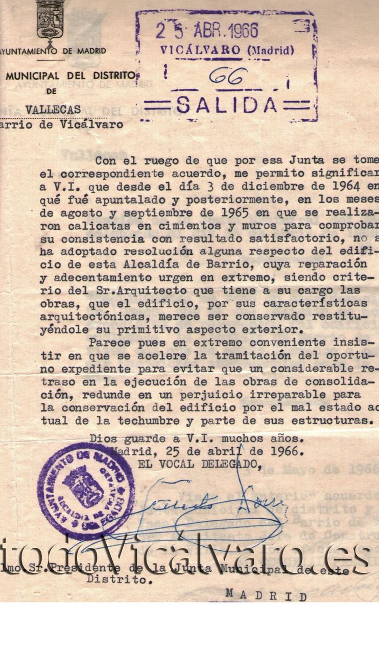 El vocal delegado ya pidió en 1966 que se procediera al arreglo del edificio sin que su queja tuviera éxito. (Documento cedido por Vicus Albus)