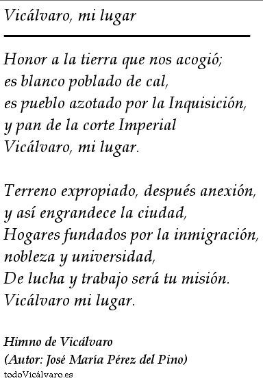 Himno de Vicálvaro. José María Pérez del Pino