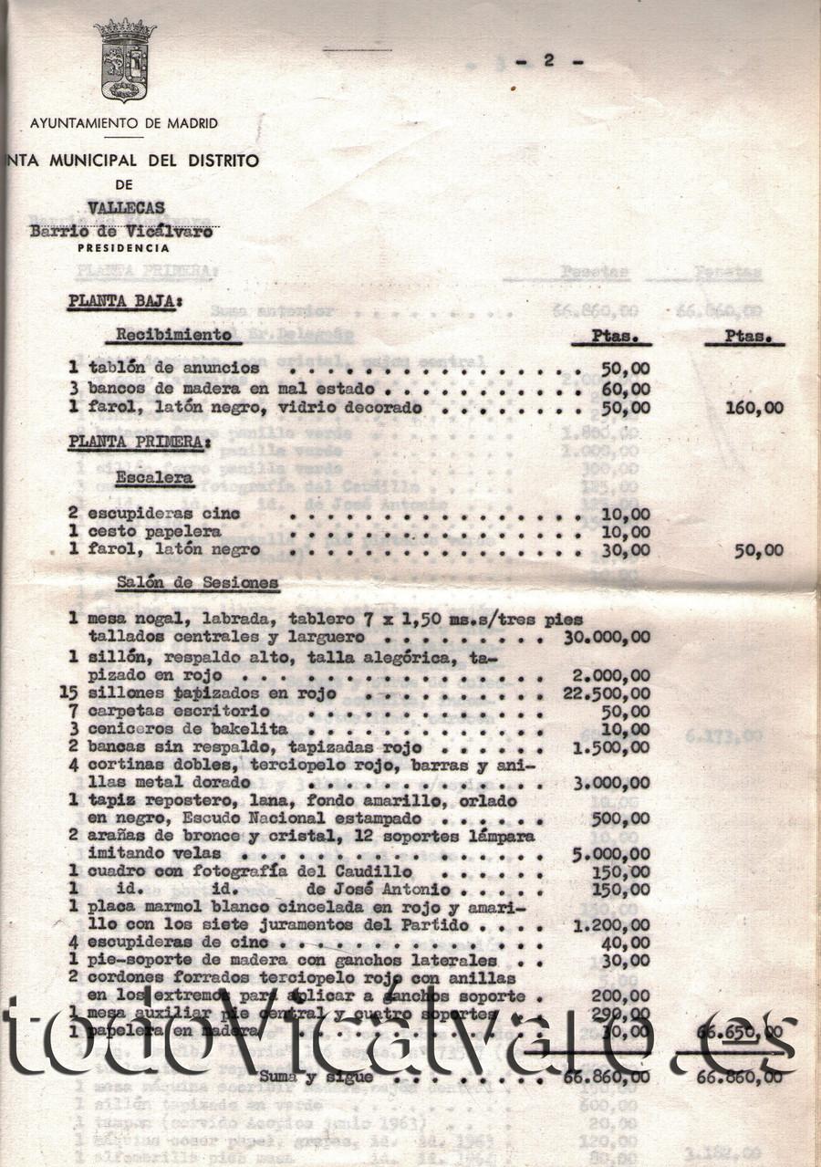 Una de las hojas del inventario de objetos del Ayuntamiento realizado por la Junta de Vallecas, distrito al que pertenecía Vicálvaro en aquel momento. (Documento cedido por Vicus Albus)