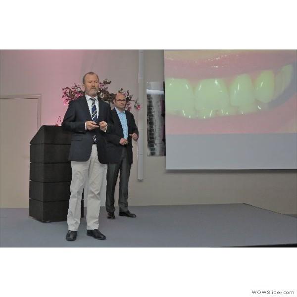 """Teamvortrag von Dr. Mellinghoff (Ulm)  und  Ztm. Joachim Maier (Überlingen). Thema - """"Erdbeer mit Sahne - Untertitel: Effizienz durch echte Partnerschaft - Patient-Labor-Praxis-Technologie"""""""