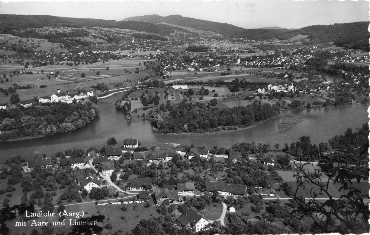 ca. 1945 - Blick auf Lauffohr vom Brugger Berg aus (Quelle: Sammlung Titus J. Meier, Brugg)