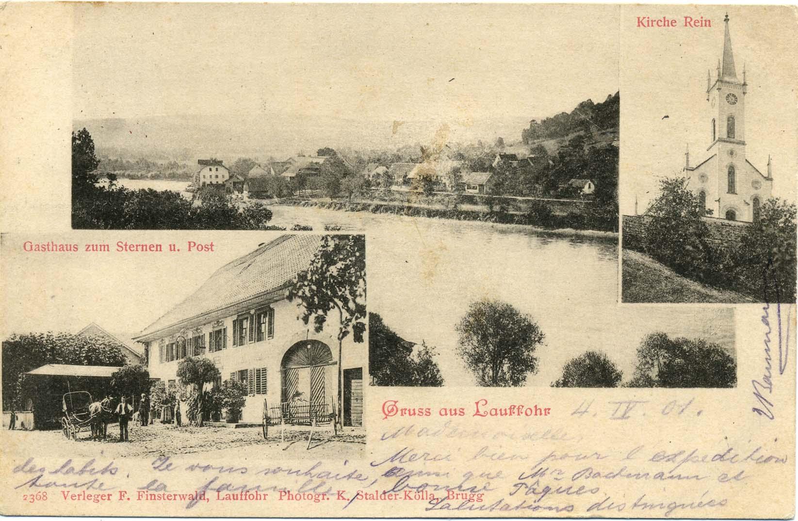 um 1900 - Postkarte Lauffohr vom Stroppel her gesehen, alte Post, Kirche Rein (Quelle: Sammlung Titus J. Meier, Brugg)
