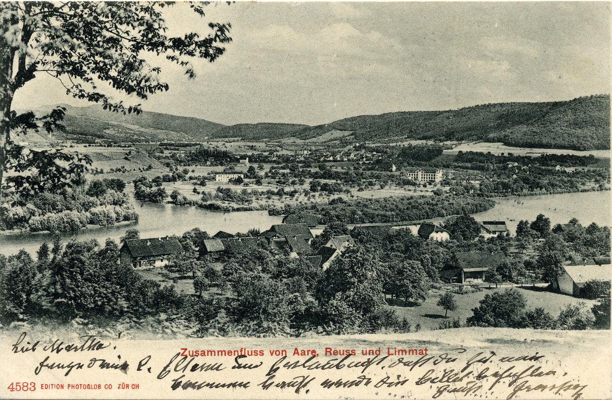 um 1900 - Postkarte Lauffohr vom Brugger Berg her gesehen (Quelle: Sammlung Titus J. Meier, Brugg)