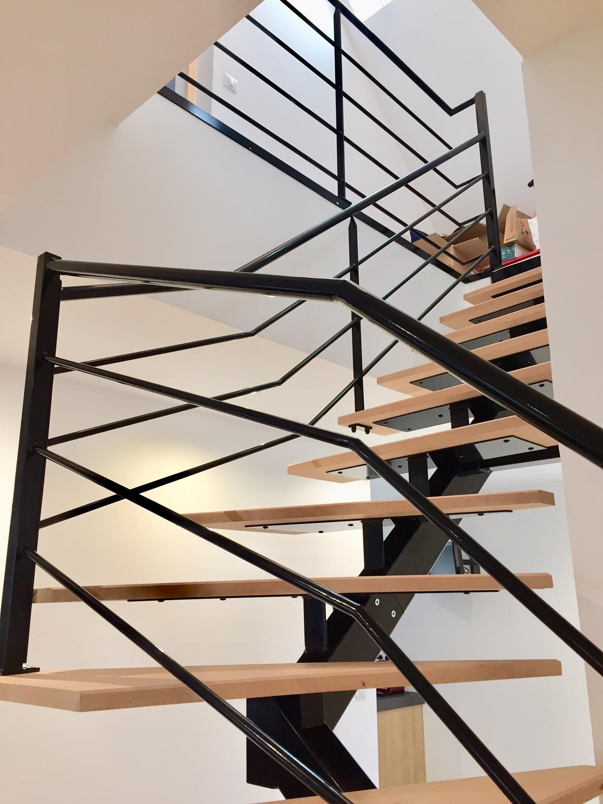 escalier metal et bois art et fer