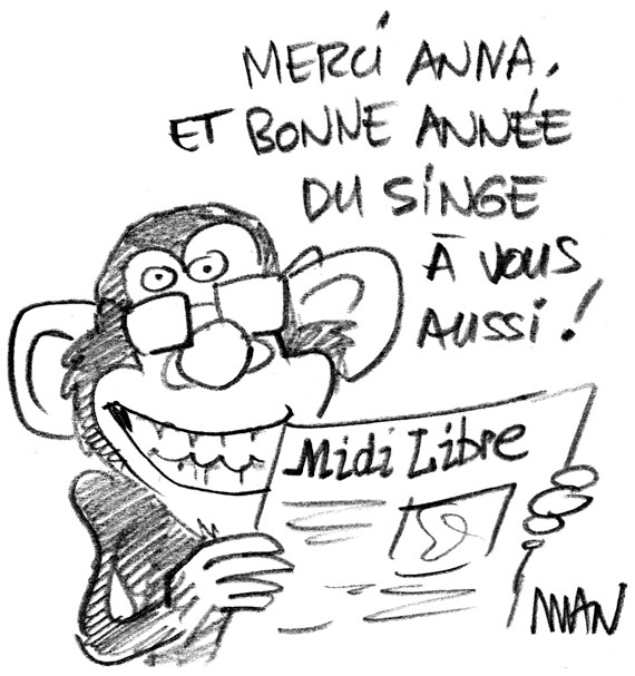 Message d'amitié du dessinateur MAN du journal MIDI LIBRE