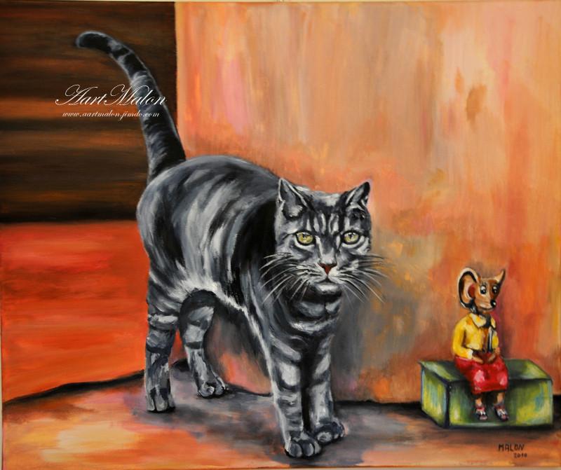 """""""Le chat russe""""       50/60         acrylique/toile"""