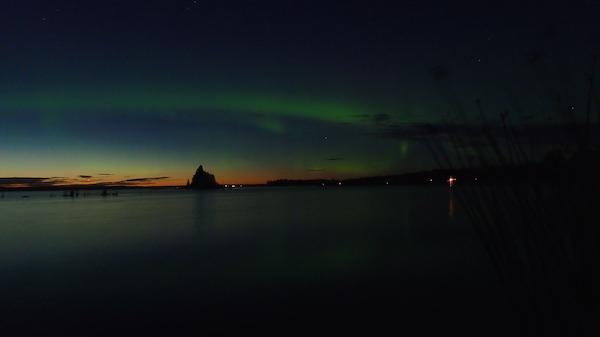 Grünes Nordlicht, nahe Umeå, Nordschweden