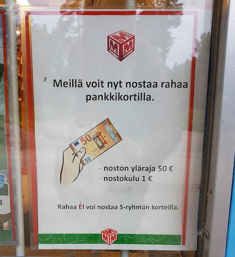 """Irgendwas mit """"pankki"""" und Geldscheinen? Geht es hier etwa um Falschgeld? Nein, keine Panik: je 50 EUR Einkaufswert bekommt man einfach 1 EUR gutgeschrieben."""