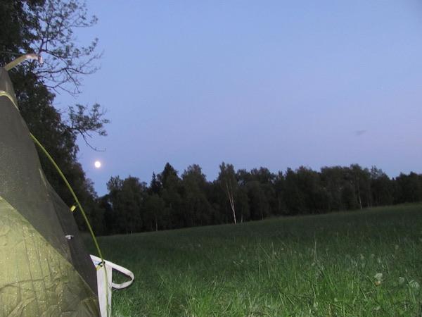 Zelt auf Wiese mit Wald und Vollmond im Hintergrund