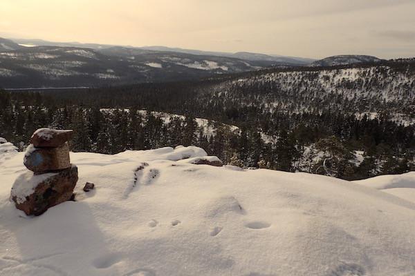 Skuleskogen Nationalpark im Winter, Aussicht vom Slattdalsberget