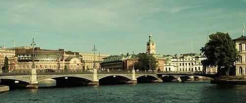 Blick auf Stockholm vom Wasser aus