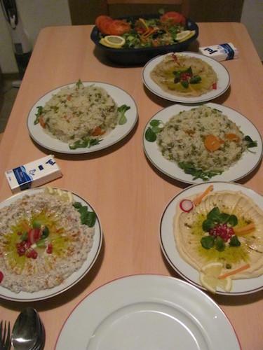 Hoummos, Homs-Hoummos, Babaganoush, Reis und Salat. Yumm.