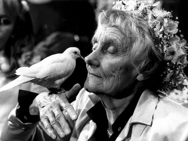 Astrid med duva på 80-årsdagen | © Jacob Forsell