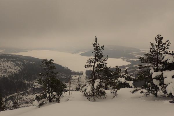Aussicht vom Skuleberget im Winter, High Coast Winter Classic, Schneeschuhwanderung
