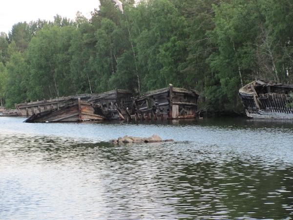 Alte Schiffswracks, Schiffskelette, Norrbyskär, Nordschweden