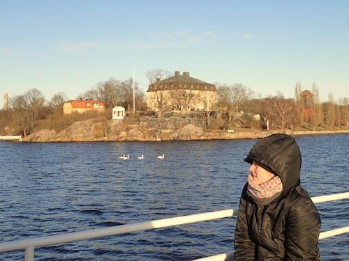 Kungliga Djurgården, Swan, Woman on a boat, Stockholm