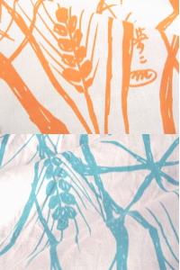 夢二式浴衣 麦の穂 カラー:オレンジ・水色