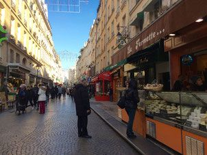Rue Montorgueil 75002 and 75001 Paris, Many food stores including cheesemonger la Fermette.