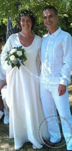 Mittelalterkleid mit Flügelärmel, Brautgewand