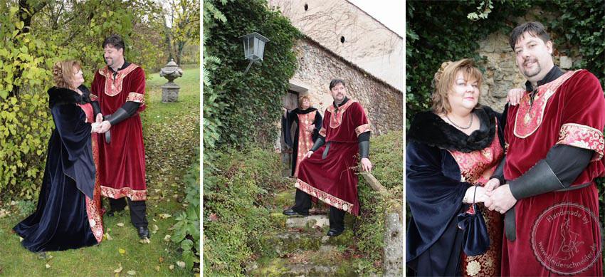 Mittelalterhochzeit, Samt und Borkat Mittelalterkleid, Gewandungen