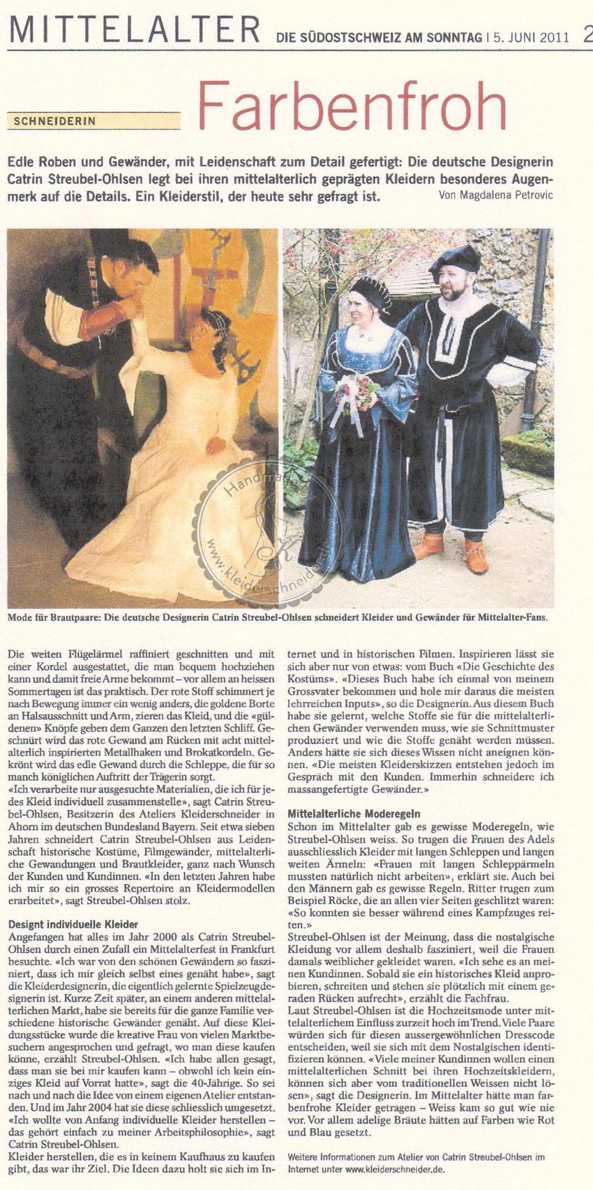 Zeitungsartikel Mittelalterliche Gewandungen von Kleiderschneider