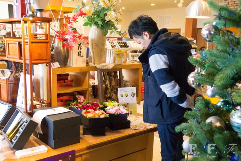 ギフトギャラリーユーティ日田店でのボックスフラワー、お客様にも好評でした