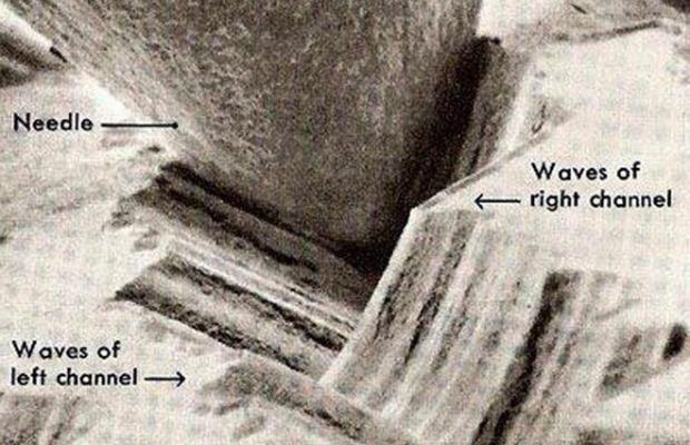 Aufnahme einer Abtasnadelspitze in der Plattenrille. man erkennt sehr schön die Flankenschrift