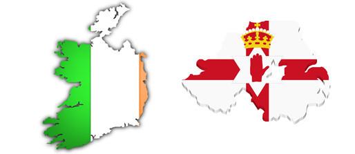 Die irische Flagge (li) und die nordirische Flagge (re). © irish-net.de