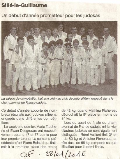 Ouest France 28/01/2016 - Judo Sillé le Guillaume - Un début d'année prometteur pour les judokas