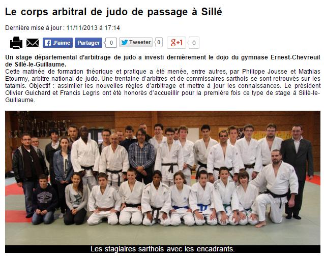 Alpes Mancelles 11/11/2013 Judo Sillé le Guillaume : Le corps arbitral de judo de passage à Sillé